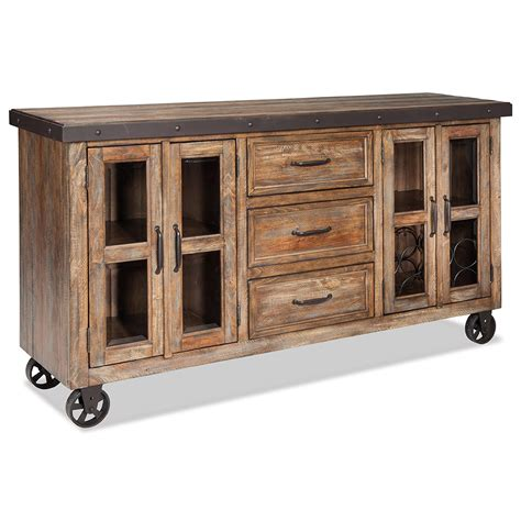 Rustic Sideboards Furniture by Intercon Taos Rustic Sideboard With Flip Up Front Media