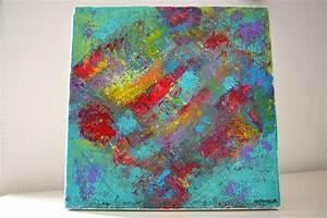 Tableau Moderne Coloré : tableau abstrait colore moderne peinture contemporaine 30x30 peintures par antonella ~ Teatrodelosmanantiales.com Idées de Décoration