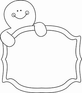Black and White Gingerbread Man Sign Clip Art - Black and ...