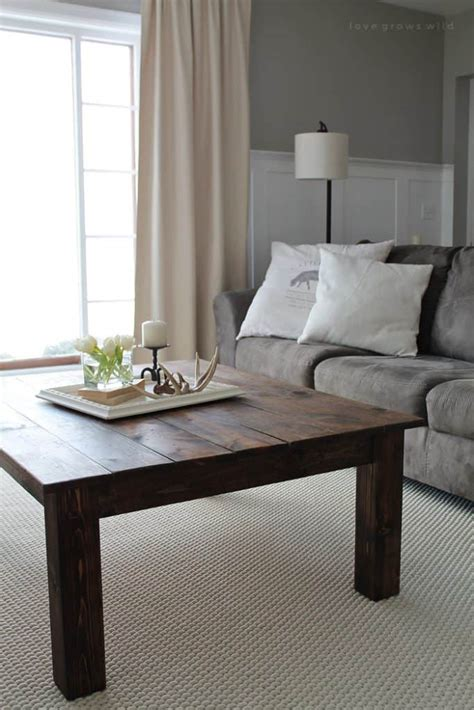 See how it comes together with inexpensive materials available at any hardware store. 30 Easy DIY Farmhouse Coffee Table Projects with Free Plans - Joyful Derivatives