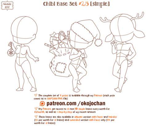 anime chibi pose chibi pose reference simple chibi base set 25 by