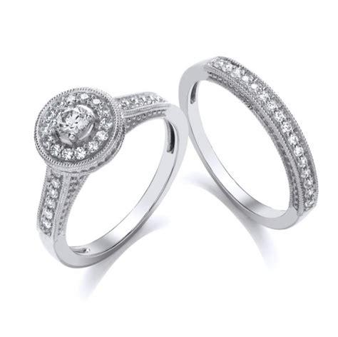9 carat white gold wedding ring set round brilliant cut