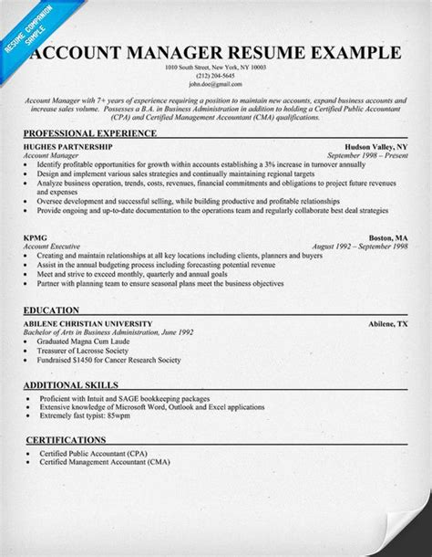 18210 account executive resume account manager resume sle resume sles across all