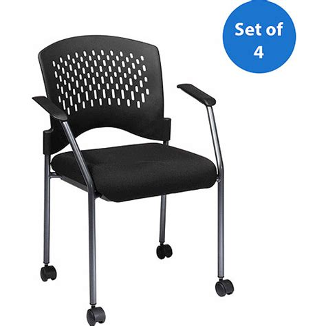 office visitor chair with arms and wheels titanium