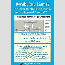 Online Vocabulary Games And Practice Activities