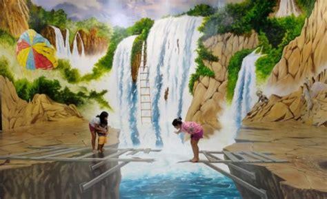 gambar lukisan dinding ruangan  pemandangan alam