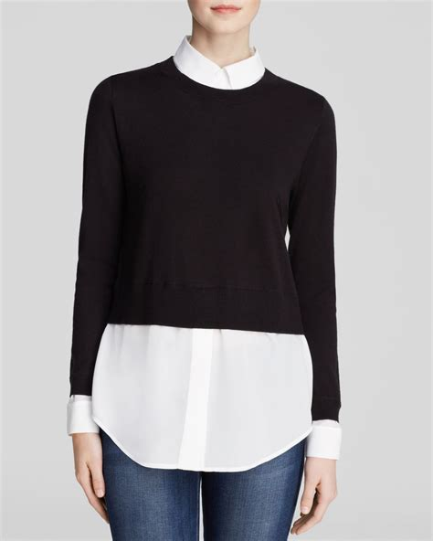 sweater blouse combo gray sweater shirt combo in black lyst