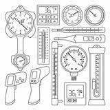 Barometer Outline Thermometer Icon Thermostat Isolated Illustrations Vectors sketch template