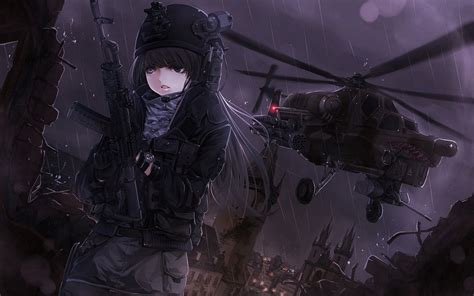 headphones rifles soldiers video games guns cityscapes
