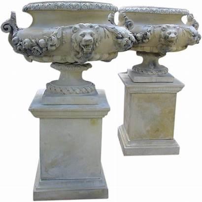 Rubylane Urns Pedestals Lion Pair French Garden