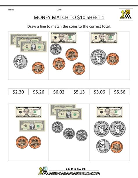 money worksheets match to 10 dollars homeschool 2nd