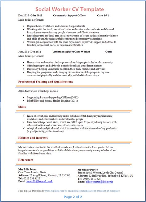 Msw Resume Format by Social Worker Cv Exle 2