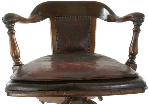 Vintage Leather Bankers Chair by Antique Bankers Chair Original Leather Seat Cushion