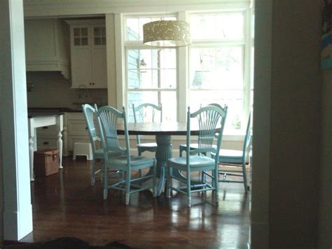 Round Kitchen Table with Blue Fan Chairs   Traditional