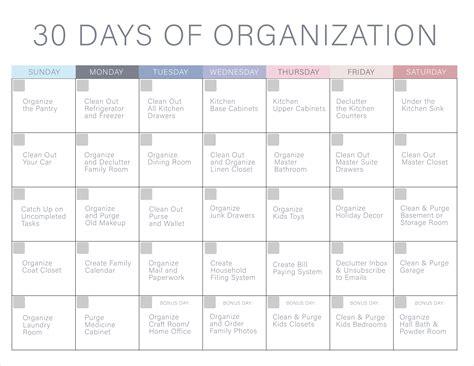 30 Days Of Organization Challenge