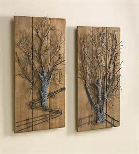 tree wall decor wood metal tree on wooden wall set of 2 new for winter