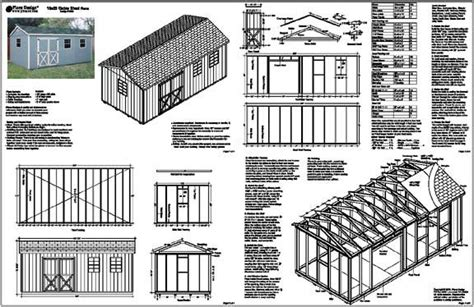 10 x20 gable storage shed plans building blueprints ebay