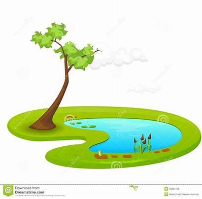 Pond Teich Cartoon Vijver Damm Stagno Illustratie