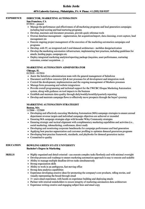 marketing automation resume samples velvet jobs