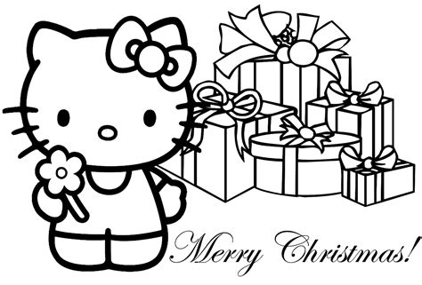 kitty christmas coloring sheets