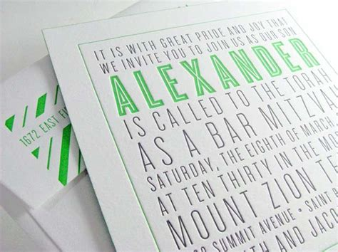 bar and bat mitzvah letterpress invitations by spark digby invitations dc