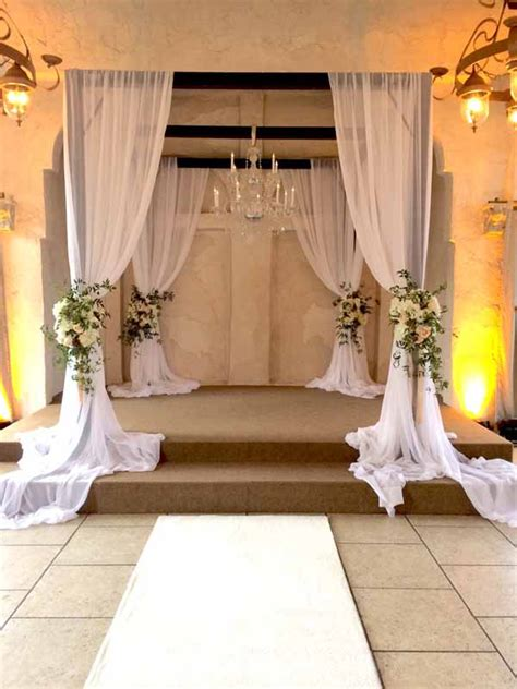 wedding ceremony chuppah draping floral decor gazebo arch chuppahs indoor flowers church decorations simple fabric wednesday hydrangeas clusters roses ivory