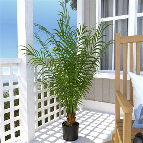 steins artificial trees beachcrest home silk areca palm tree in pot reviews wayfair ca