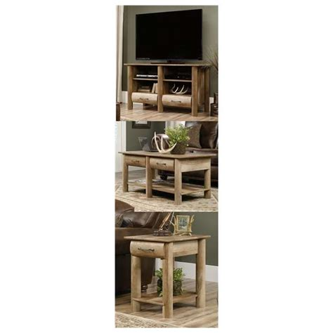 tv stand coffee table end table set sauder boone mountain oak living room set tv stand