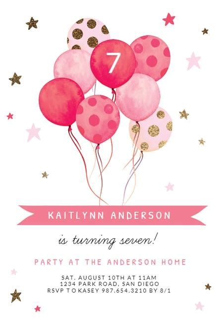 watercolor balloons birthday invitation template