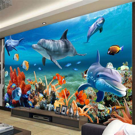 custom wall mural wallpapers  ocean dolphin fish coral