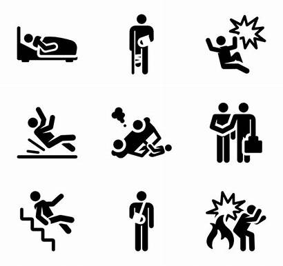 Injury Accident Icons Human Insurance Pictograms Vector