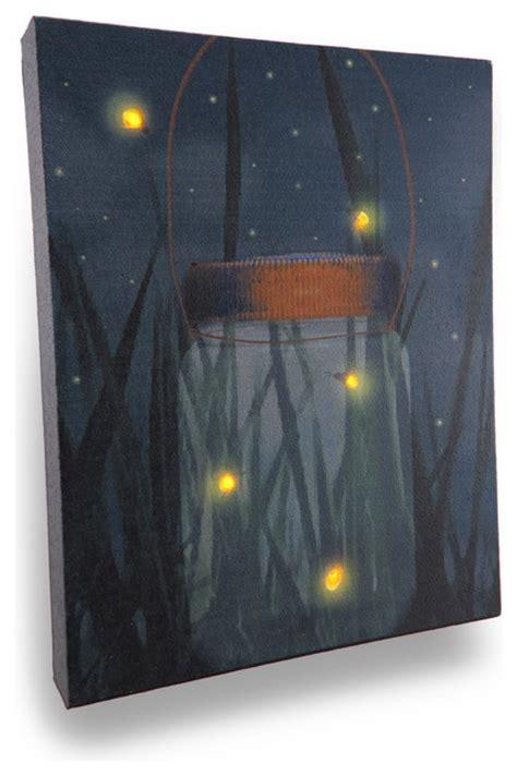 Flickering Light Canvas by Flickering Jar Of Fireflies Lighted Led Canvas Wall
