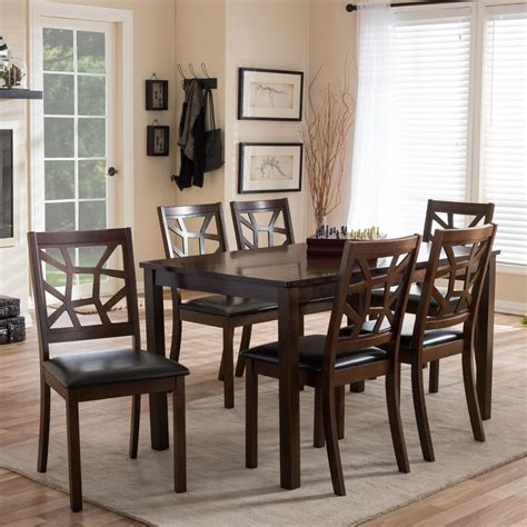 black dining room sets baxton studio mozaika 7 brown faux leather