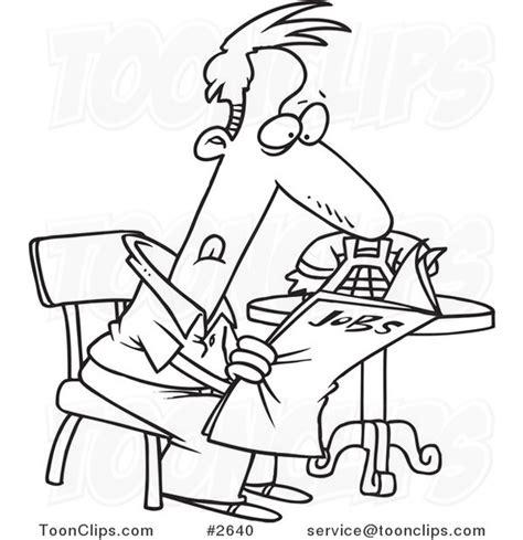 cartoon black  white  drawing   unemployed guy