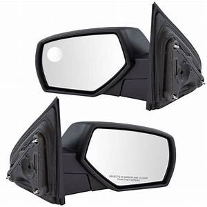 Mirror Manual Textured Black Pair Set Of 2 For Chevy Gmc
