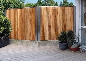 Exklusiver Bambus Zaun Als Sichtschutz An Der Terrasse