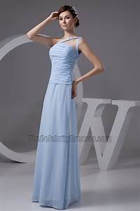 Light Sky Blue One Shoulder Prom Gown Evening Dresses ...