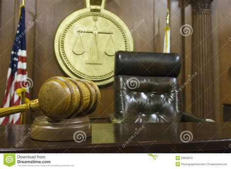 gavel and judge s chair in courtroom stock images image