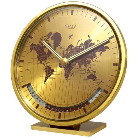 world time zone desk clock mid century kienzle gmt world time zone brass table clock