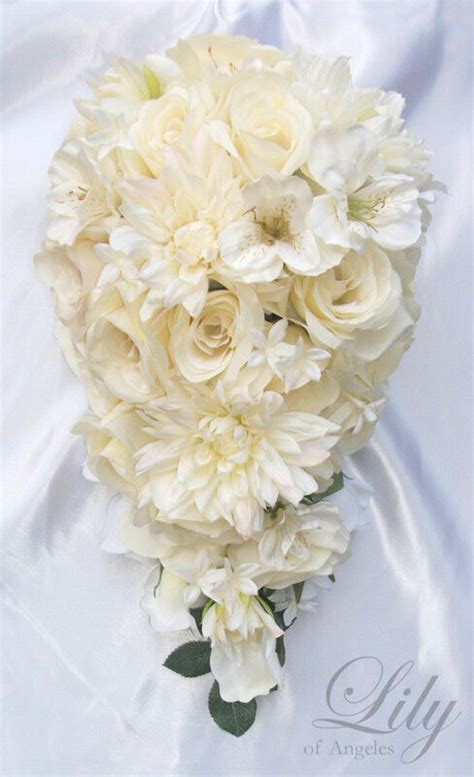 pcs wedding bridal bouquet flowers ivory cascade silk ebay