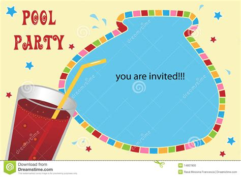 pool party invitation card stock photo image