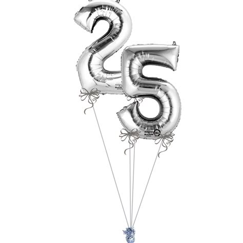 silver numbers  bunch magic balloons