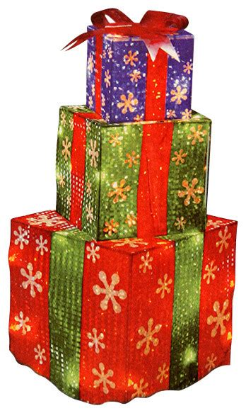 stacked holographic present yard decoration 24