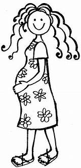 Pregnant Lady Woman Mum Drawing Digi Stamps Coloring Pages Line Da Stamp Clip Template Teacher Posters Pregnancy Printable Rubber Sellos sketch template