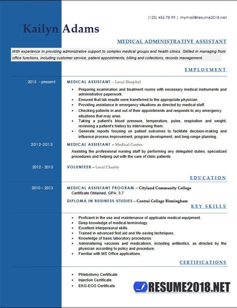 medical assistant resume exles 2018 six templates in