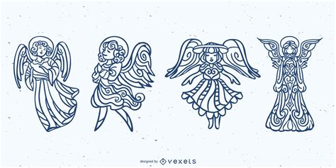 Check out our angel mandala svg selection for the very best in unique or custom, handmade pieces from our digital shops. Mandala Angels Stroke Set - Vector Download