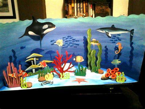 maqueta escolar sobre el ecosistema acuatico dibujo diagramacion idea ilustracion  hechura