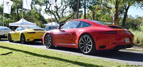 red porsche 2016 2017 porsche 911 c2s race yellow and guards red first