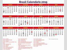 Download grátis Brasil 2019 Calendario para imprimir com