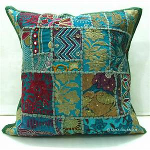 tribal bohemian patchwork decorative throw pillow With bohemian pillows and throws